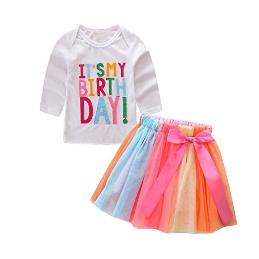 6fa1a111a Amazon.com  HBER 1-7T Baby Toddler Little Girls Birthday Outfits ...
