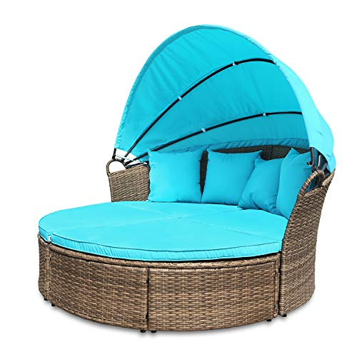 M&W Outdoor Funiture Round Patio Daybed with Retractable Canopy for Lawn Garden Backyard Pool, PE Wicker Rattan (Hanging Furniture Outdoor Lounger Rattan)