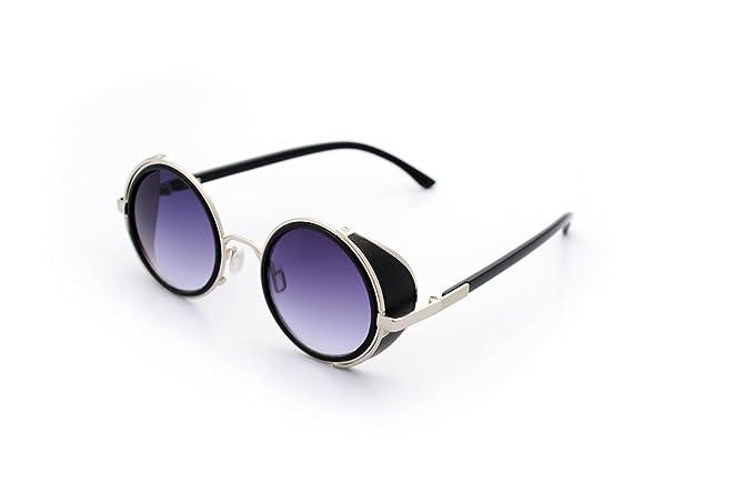 ASVP Shop® Gafas de sol estilo Steampunk, micas redondas 50S ...