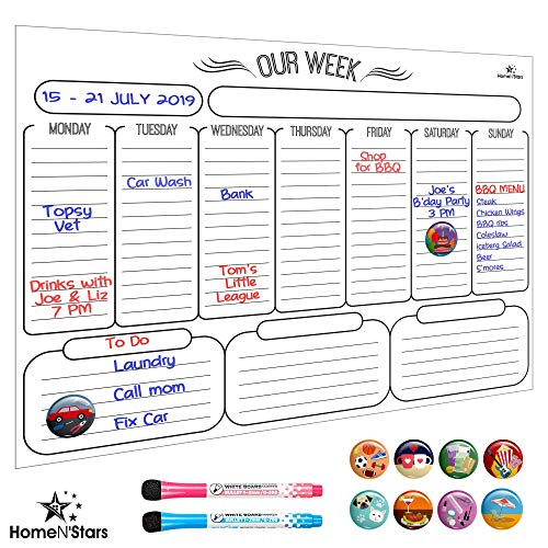 Weekly Dry Erase Board - Magnetic Dry Erase Weekly Calendar for Fridge - Stain Resistant Nano Technology: Bonus 2 Fine Point Markers with Erasers & 10 Magnetic Icons White 16