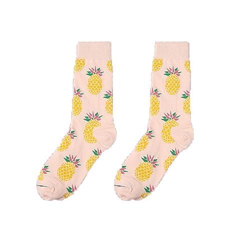 Scrox 1 Pares Calcetines Mujer Invierno Sock Creativo Estampado de Frutas Unisex Algodón Personalidad Casual Otoño