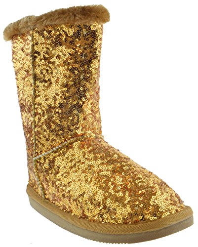 Bling Kids Sequin Faux Fur Shearling Boots Gold (Gold Faux Fur)