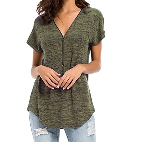 iTLOTL Womens Loose Fitting Zip up V Neck Short Sleeve Tops Tunic Casual Shirt Blouse(US:12/CN:L, ()