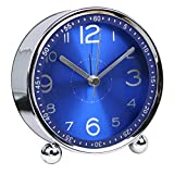 4-inch Table Clock Ultra-quiet Metal Small Alarm Clock, Classic Retro Style Quartz Clock, Desk Cupboard Bedside Travel Alarm Clock (CS-AC06)(blue)