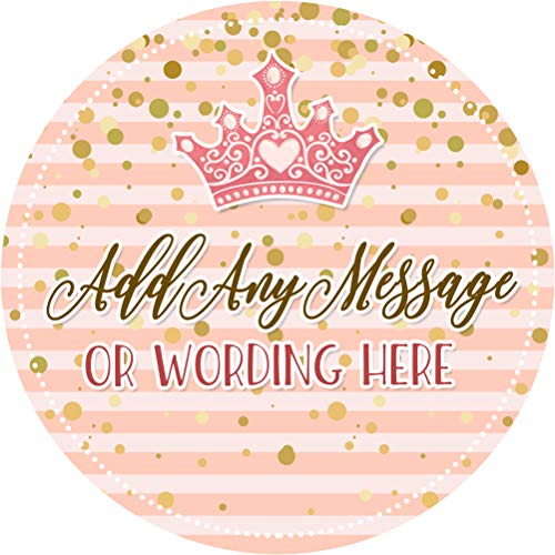 Princess Crown Gold Pink Sticker Labels (24 Stickers, 1.8'' Inch Each) Personalized Seals Ideal for Party Bags, Sweet Cones, Favours, Jars, Presentations Gift Boxes, Bottles, Crafts