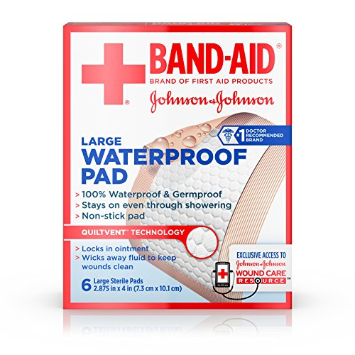 Band Aid Brand First Aid Products Non-Stick Sterile Waterproof Pads, Large 2.9 in x 4 in, 6 ct (Pack of ()
