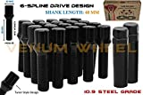 20 Pc Black 14x1.5B Spline Tuner Conical Lug Bolts | 40 MM Extended Length | Wheel Lugs + 2 Keys | Fits Audi BMW Mercedes Benz Volkswagen Porsche W/Aftermarket Wheels | Small Diameter