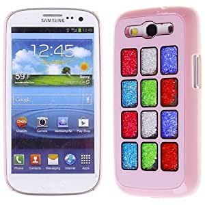 Pink Red Blue White Green Square Bling Rhinestone Crystal Case Cover Diamond Skin For Samsung Galaxy S 3 S3 III I747 I9300 with Free Pouch