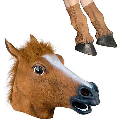 Horse Costume Zebra (Signstek Latex Horse Head Mask with 1 Pair Horse Hooves Gloves,)
