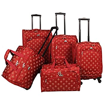 Image of American Flyer Fleur De Lis 5-Piece Spinner Luggage Set, Red, One Size