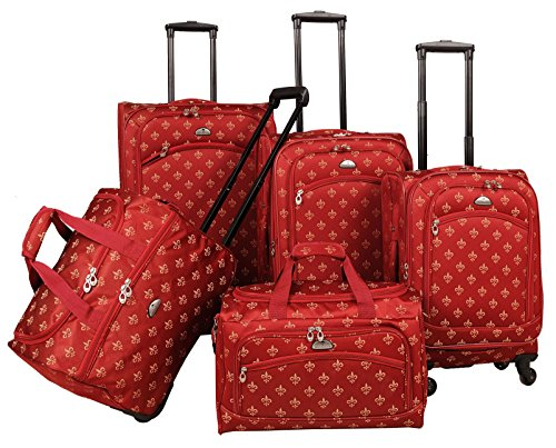 - American Flyer Fleur De Lis 5-Piece Spinner Luggage Set, Red, One Size