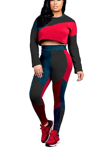 0c6ca6a942eb Mycherish Women s Casual Long Sleeve Striped Color Block Crop Tops Bodycon  Long Pants Set 2 Piece
