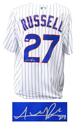 Addison Russell Autographed/Signed Cubs White Pinstripe 2016 World Series Patch Majestic Jersey - Authentic Signature