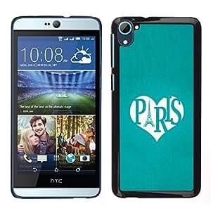 HTC Desire 826 dual Único Patrón Plástico Duro Fundas Cover Cubre Hard Case Cover - Eifel Tower Love Teal Heart