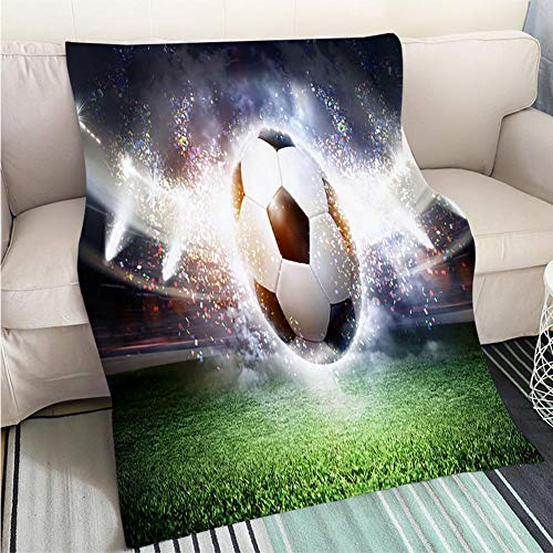 BEICICI Breathable Flannel Warm Weighted Blanket The Imaginary Soccer Stadium and Ball 3D Rendering Hypoallergenic - Plush Microfiber Fill - Machine Washable