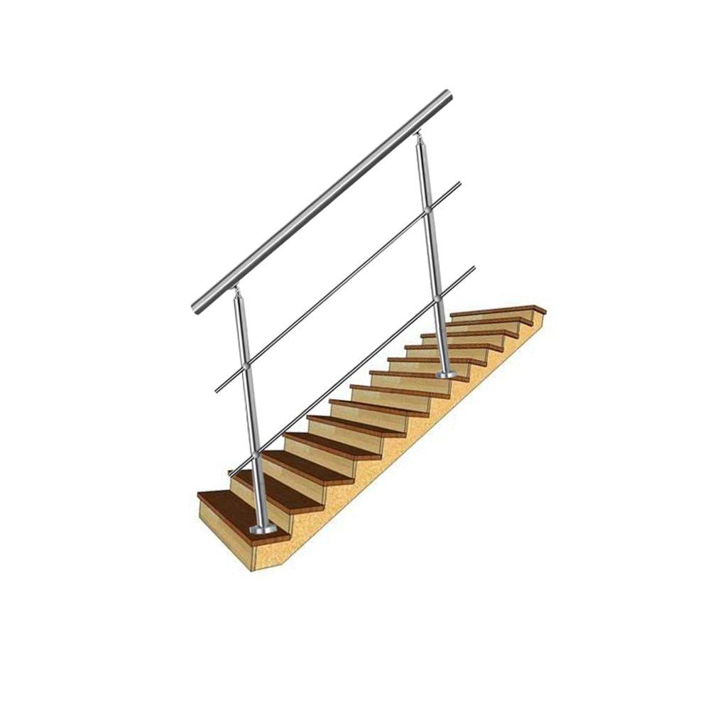 LZQ 80cm Barandilla de acero inoxidable balcones pared pasamanos escaleras barandilla con 0 travesa/ños para escaleras