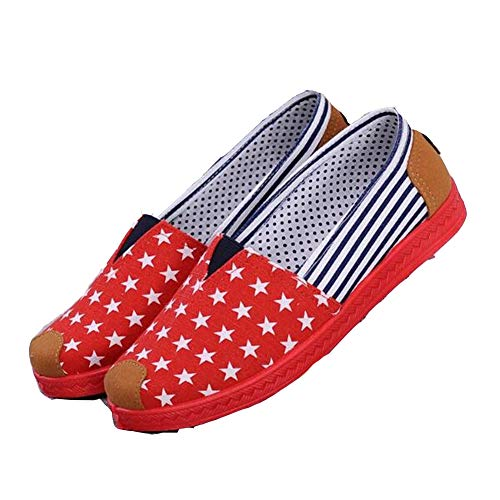 New Women's Fashion Espadrilles Slip-On Boat Flat Fisherman Weave Casual Canvas Loafers Oxford Lazy Shoes Red from T-JULY