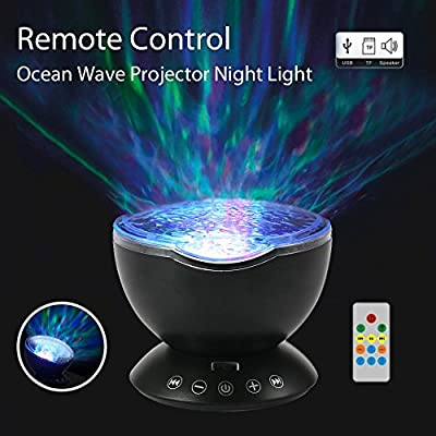 Umiwe Remote Control Ocean Wave Projector Night Light Lamp with Built-in Music Player [12 LED Beads, 7 Colorful Light Modes] for Kids Adults Bedroom Living Room - Newest Generation: Home Improvement