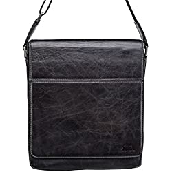 Sena Genuine Premium Leather Handcrafted Messenger Bag for Apple iPad/Tablet (Black)