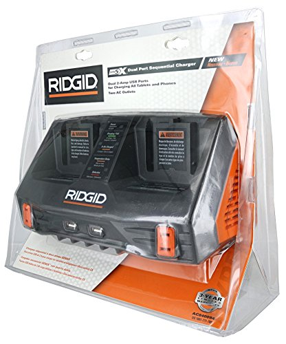 Ridgid AC840094 Gen5X Dual Port 18V Lithium Ion and NiCad Battery Charger with Pass-Through AC Ports and USB Charging (Batteries Not Included, Charger Only) -