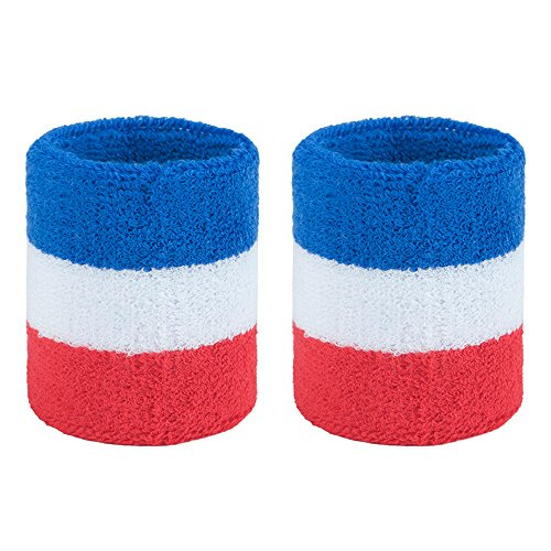 GOGO Athletic Wrist Sweatbands Pair Terry Cloth Wristband for Running Basketball Tennis-Red/White/Blue
