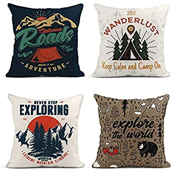 ArtSocket Set of 4 Throw Pillow Covers College Camping Tent Vintage Tee and Adventure Emblems Wanderlust Badge Decor Linen Pillow Cases Home Decorative Square 18x18 Inches Pillowcases