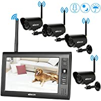 KKmoon Wireless 2.4GHz 7 TFT Digital LCD Display Monitor 4 Channel Quad DVR + 4 IR Night Vision Waterproof Camera Support AV Output Voice Monitoring Motion Detection Recording TF Card