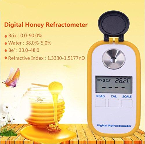 Digital Refractometer for Honey Digital Honey Refractometer Honey Digital Refractometer Brix Refractometer Digital Brix 0-90.0% Measurement High Accuracy (Brix)0.2% Automatic Temperature Compensation