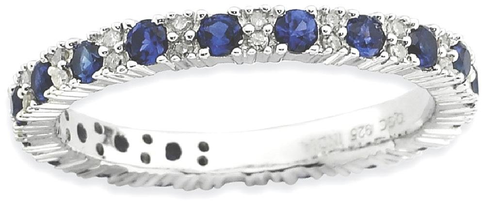 ICE CARATS 925 Sterling Silver Created Sapphire Diamond Band Ring Size 8.00 Stone Stackable Gemstone Birthstone September Fine Jewelry Gift Set For Women Heart