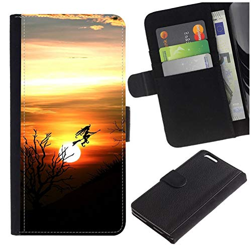 ([Halloween Witch Flying Across Sunset] for LG Aristo/LG Phoenix 3 / K8 2017 / Fortune/Risio 2 / K4 2017 / V3, Flip Leather Wallet Holsters Pouch Skin)