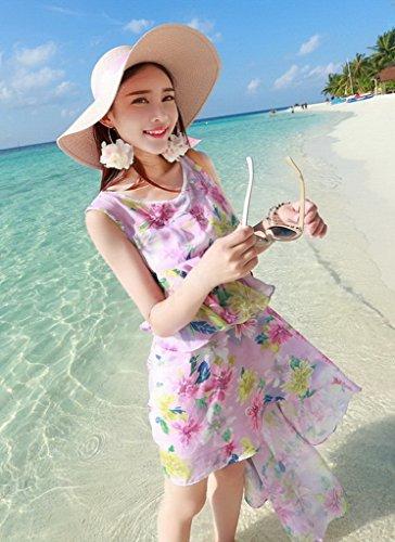 Xiang Ru Des Femmes De Mousseline Ras Bord De Lotus Floral Plage De Vacances Mini Tour Irrégulière Robe Violette