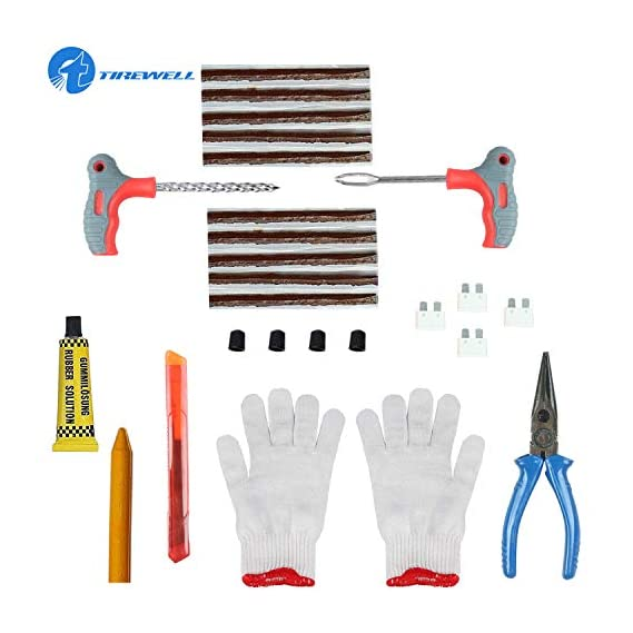 TIREWELL TW-5006 10 in 1 Universal Tubeless Tyre Puncture Kit Emergency Flat Tire Puncher Repair Patch Tool Bag for Car