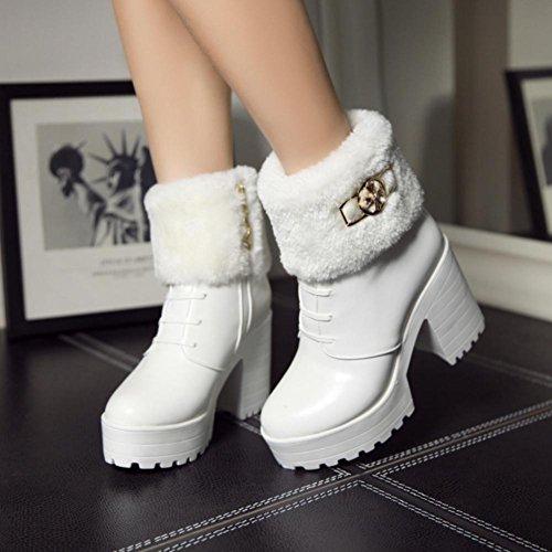 Best 4U® Scarpe Donna Scarpe Premium in PU Faux Funk Chunky Heels Martin Stivali Tondo a punta Zipper Zeppe Stile Casual , Bianca , 35