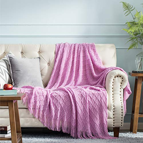 Bedsure 100% Acrylic Knit Throw Blanket, 50×60 Inch - Lavender Violet Plum Decorative Blanket with Tassels for Couch, Bed, Sofa, Travel - All Seasons Suitable for Women, Men and Kids (Purple)