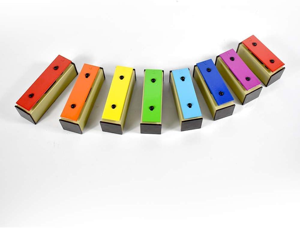 ENNBOM Xylophone Glockenspiel 8 Notes Chromatic Resonator Bells with Green Case