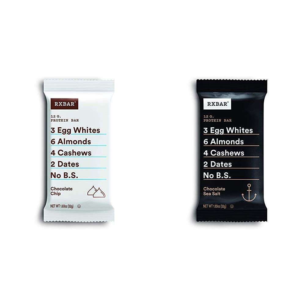 RXBAR, Chocolate Chip, Protein Bar, 1.83 Ounce Breakfast Bar with with Chocolate Sea Salt, Protein Bar, 1.83 Ounce (12 count) Breakfast Bar, High Protein Snack