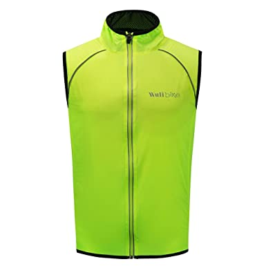 Men s Ultra-Light Cycling Vest Fluorescent Green Reflective Safety Gilet  Windproof Packable Breathable 64ca139b0