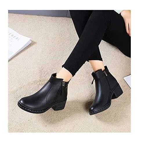 Eeayyygch High Heels Stiefel mit mit mit dickem Absatz, Absatzstiefel und britische Samtschuhe mit hohem Absatz (Farbe   schwarz Thick Cotton, Größe   37) 557da2