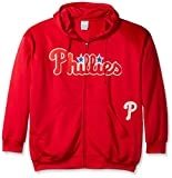 MLB Philadelphia Phillies Men's Full Zip Poly Fleece with Wordmark Chest with Logo near Pocket, 2X/Tall, Red