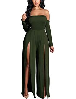 ce571dc563 Vilover Women s Tube Top Jumpsuits Strapless Stretchable Long Sleeve Wide  Leg Rompers High Slits