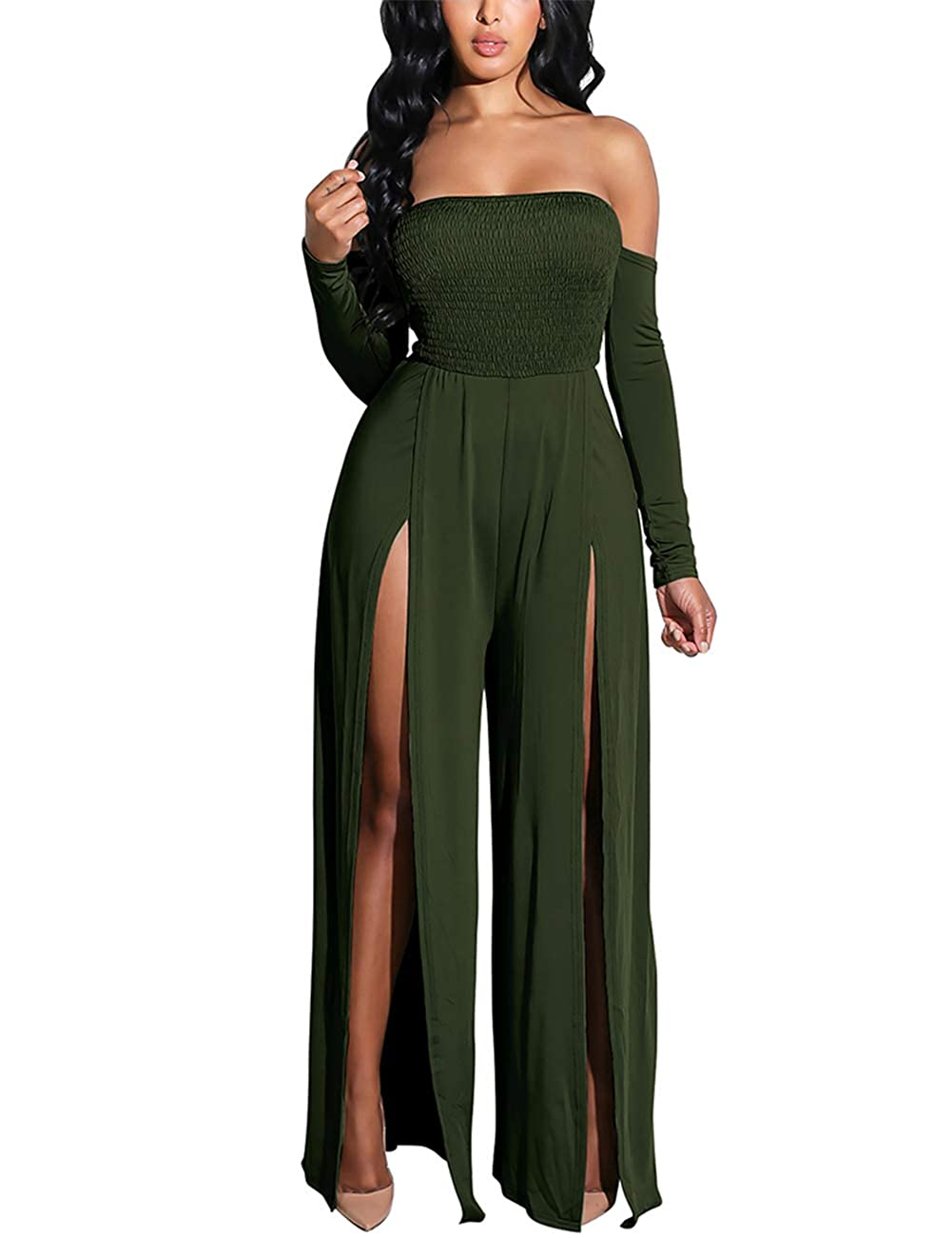 232d3803f66 Amazon.com  Vilover Women s Tube Top Jumpsuits Strapless Stretchable Long  Sleeve Wide Leg Rompers High Slits  Clothing