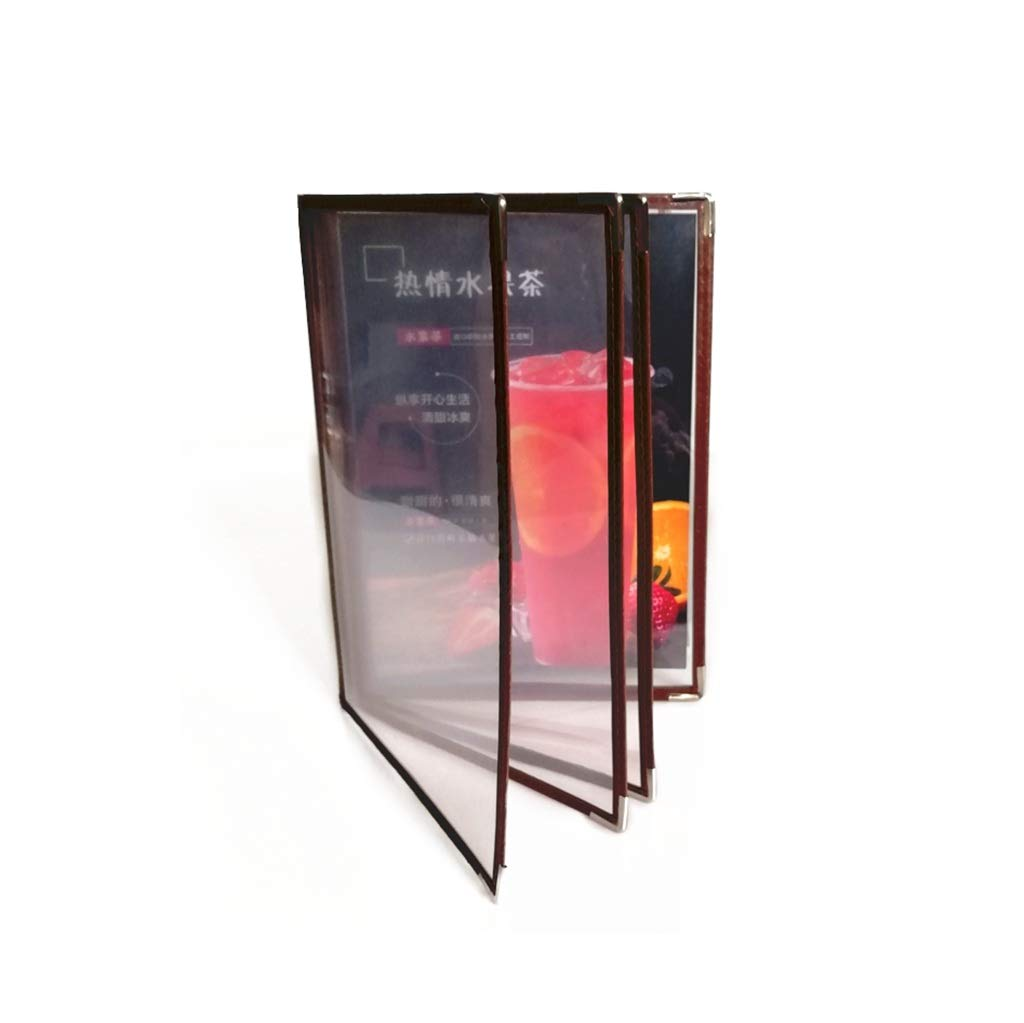 QSJY File Cabinets Document Display Folder a4 Black with 8 Panels and 16 Pockets(Leather + PVC) 31.525CM