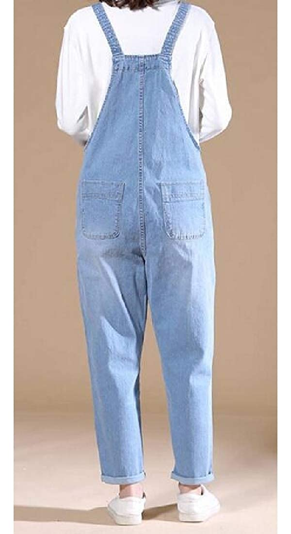 YYear Womens Plain Denim Adjustable Strap Plus Size ku Denim Overalls