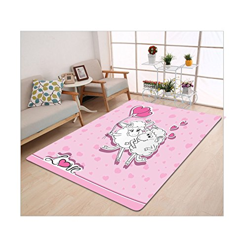 Killer Sheep Costume (Kisscase Custom carpet Animals Decor Collection Sheep in Love Hearts Cheering Joy Smile Marry Husband and Wife Birthday Doodle Art Pink White)