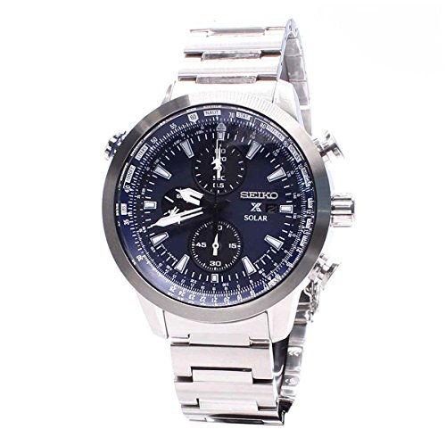 Seiko Mens Prospex Prospex Sky Analog Business Solar Watch (Imported) SSC347P1 by Seiko Watches