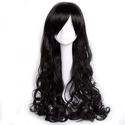 Anime Cosplay Full Wig with Bangs 60-100CM Japanese Kanekalon Fiber Heat Resistant Synthetic Wig Long Straight for Women Girls Lady (32''/80CM(Curly/Wave), Black)