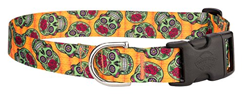 Country Brook Petz Sugar Skulls Featherweight Deluxe Dog Collar - (Halloween Skull Printable)
