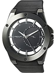 Kenneth Cole New York Mens Transparency Quartz Stainless Steel and Leather Dress Watch, Color:Black (Model:...