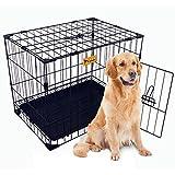 ULWPet 24in Reinforced Folding Metal Dog Crate w/ Divider (Black)