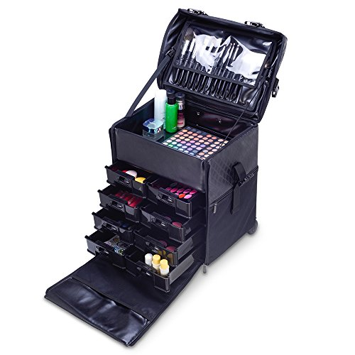 MUA LIMITED 2 in 1 Pro Makeup Artist Case on Wheels, Multifunction Cosmetic Organizer with Removable Drawers, Beauty Trolley, Soft Case with PREMIUM Buckles, ULTIMATE Series - Black Diamond by MUA Limited (Image #5)